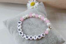Armband Blumenkind rosa weiß perlmutt mit Herz Anhänger silber farben Name
