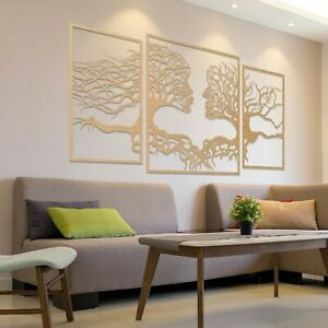 001 Amazing Modern Tree Of Life Faces 3 panels Wooden MDF Hanging Wall Art Decor