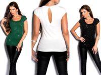 Maglietta donna manica corta t-shirt elasticizzata strass fiocco elegante NUOVA
