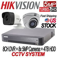 Hikvision 5MP TURBO HD 8CH CCTV KIT: 8CH DVR W/4TB HDD + 8x 5MP IR CAMERAS