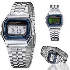 Women Antique Fancy Stainless Steel LCD Digital Stopwatch Wrist Watch Silver BA