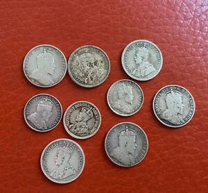 Canada 9 Various Silver Coins