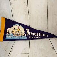 "Vintage 1950's Jamestown VA Felt Pennant 12""1607 Godspeed Discovery Susan"