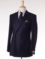 NWT $3795 SARTORIA PARTENOPEA Dark Blue Stripe Wool-Cashmere DB Suit Slim 38 R