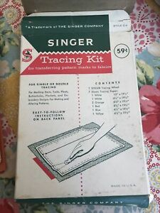Vintage Singer Tracing Kit ~ Style C-Tracing Wheel And Sheets Tracing Paper Used