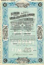 VENEZUELA EL CALLAO GOLD MINING COMPANY stock certificate 1906 10SH