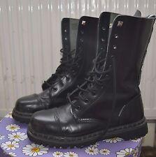 Unisex black leather Demonia combat boots ranger gothic punk metal sz 8
