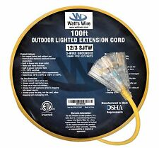100' 12/3 Lighted Heavy Duty 3 Outlet SJTW Extension Cord - 12 3 100ft In/Outdr