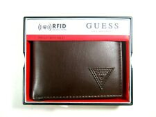 Guess Men's Front Pocket ID Wallet Passcase Bifold Brown 31GO220026 NWT $42