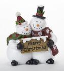 "New Winter MERRY CHRISTMAS SNOWMAN COUPLE FIGURINE Shelf Sitter Figure 6"""