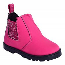 GIRLS KIDS TODDLERS PINK PURPLE BLACK HEART DESIGN PULL ON ANKLE BOOTS SIZE 6-12