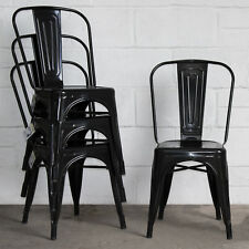Metal Dining Chair Stackable Industrial Vintage Style Seat Bistro Cafe Kitchen Black 4