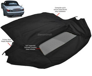 Fits: Honda S2000 2002-2009 Convertible Soft Top & Heated Glass Window Black TW