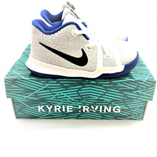Nike Boys Size 6C Kyrie 3 White Black Hyper Cobalt Blue Low Top Basketball Shoes