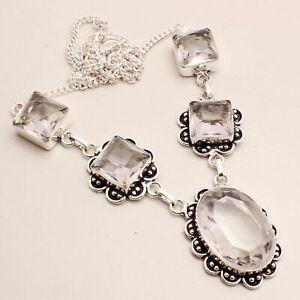 White Topaz Gemstone Ethnic Gift Handmade Necklace Jewelry 28 Gms HN-396