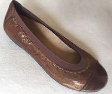 New Vionic Allora Bronze Brown Lizard Ballet Flats Patent Toe 6.5 US/37.5 EUR