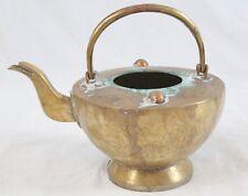 Antique Chinese Brass Copper Teapot Engraved Elders Figural Scenes Split Handle