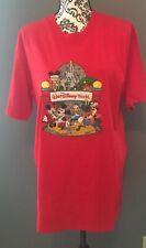 Vintage Walt Disney World embroider Red T-shirt Mens sz L New