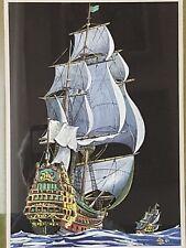 AQUARELLE / GOUACHE REPRESENTANT UN NAVIRE / VAISSEAU DE LIGNE DU XVIII E SIECLE