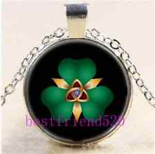 Clover and Trinity Cabochon Glass Tibet Silver Chain Pendant Necklace