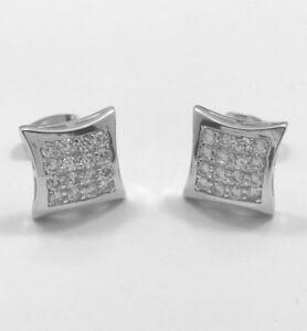 NEW $65 Mens CUSTOM 14k White Gold Gp Simulate Diamond ice HipHop Earrings BLING