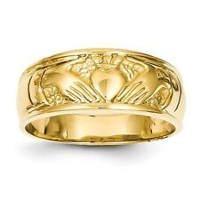 14k Yellow Gold Ladies Claddagh Ring Size 6