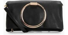 BOOHOO KAREN LARGE RING CROSS BODY BAG BLACK NEW WITH TAGS