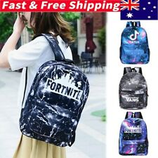Boys Girls Tik Tok Fortnite Galaxy School Bag Backpack Rucksack Shoulder Bag AU