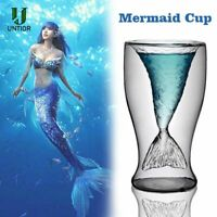 Mermaid Cup Clear Tail Shape Glass Wine Beer Cup Bar Party Heat Resisting Unique