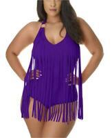 Lucky Star Plus Size Fringe One Piece Swimsuit (Large,, Purple, Size Large tT5T