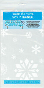 Winter Snowflakes Christmas Table Cover Clear & White - Use Over Coloured Cloth