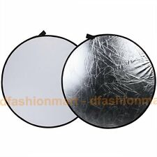 110cm 109cm 2 en 1 Plata Y Blanco Plegable Circular Reflector Board Disco + Bag