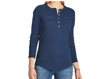 CHAPS Women's 100% Cotton Navy Henley Top. Size L. $49. NWT