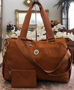 Baggallini  X-Large Orange Nylon Travel Diaper Tote Shoulder Bag + Wristlet $145