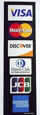 CREDIT CARD LOGO DECAL STICKER - Visa, MasterCard, Discover and American Express