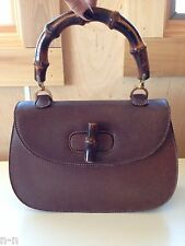 GUCCI vintage BAMBOO handle Leather KELLY bag satchel  RARE authentic 1960's