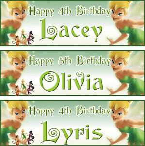 2 personalized birthday banner fairy tinker bell children kid girl party poster