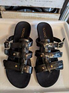 Vionic Orthaheel RADIA Adjustable Strap Wedge Slides Black Crocodile 7