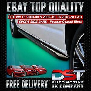 VW T5 T6 TRANSPORTER LWB SPORTLINE BLACK FINISH SIDE BARS OEM QUALITY