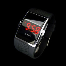 Sport LED Digital Date Lady Men Women Unisex Black Silicone Watch Wristwatch