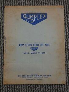 1953 Simplex Catalogue, Derailleurs, Hubs, Components Rare!