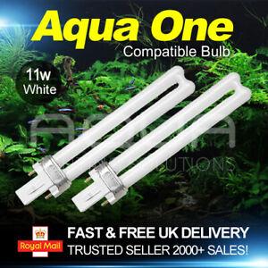 AquaOne Aquarium Light Bulb PL 11 watt 2 pin, white, compatible bulb TWIN PACK