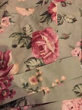 """��Vintage Danville Floral Pink Rose On Green Drapery Pair 42""""+42""""W X 87""""L"""