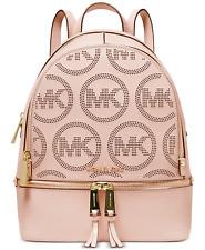 Michael Kors Rhea Zip Small Leather Backpack Soft Pink MK Monogram SEALED