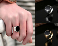 Elegant Black Polished Stainless Steel Silver Gold Band Biker Men's Signet Ring