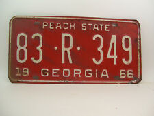 Vintage 1966 Georgia Peach State Automobile License Plate Tag 83 R 349 Dooly Co