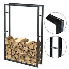 Étagère de cheminée exclusive en métal noir mat Porte bûches cheminée 100x150