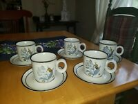 Noritake Stoneware Japan 8590 Winterrose 5 Coffee Cup and Saucer Sets