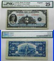 beautiful 1935 series .BANK OF CANADA 1935  $2 PMG 25