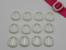 200 Ivory Pearl Square Buckle Invitation Ribbon Slider 12X11mm For Wedding